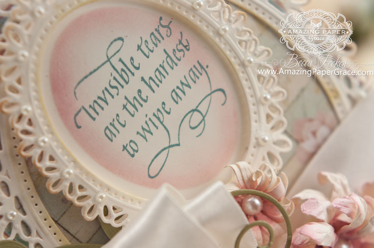 Card Making Ideas by Becca Feeken using Quietfire Design Invisible Tears and Spellbinders Oval Floral (closeup) - www.amazingpapergrace.com
