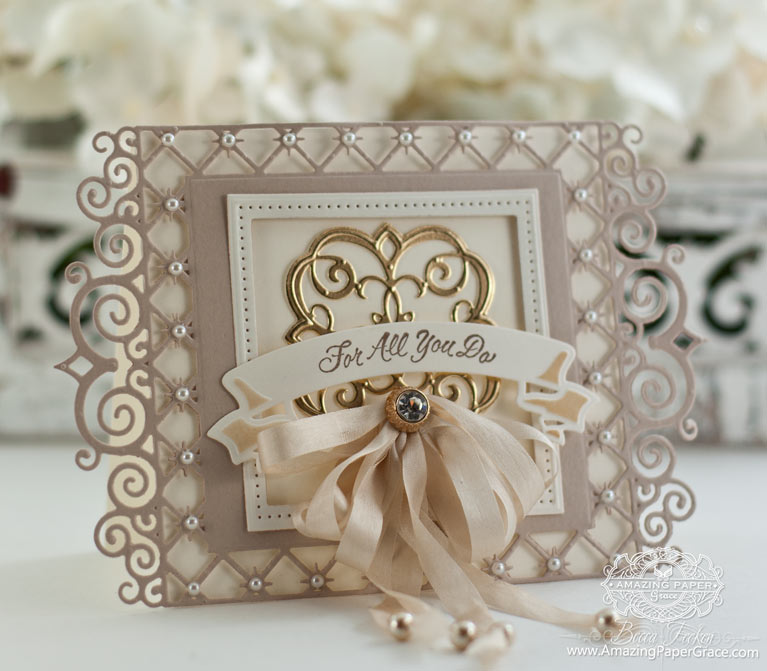 Thank you Card Making Ideas by Becca Feeken using Spellbinders Labels 47 Decorative Elements and Spellbinders Mary Border Strip