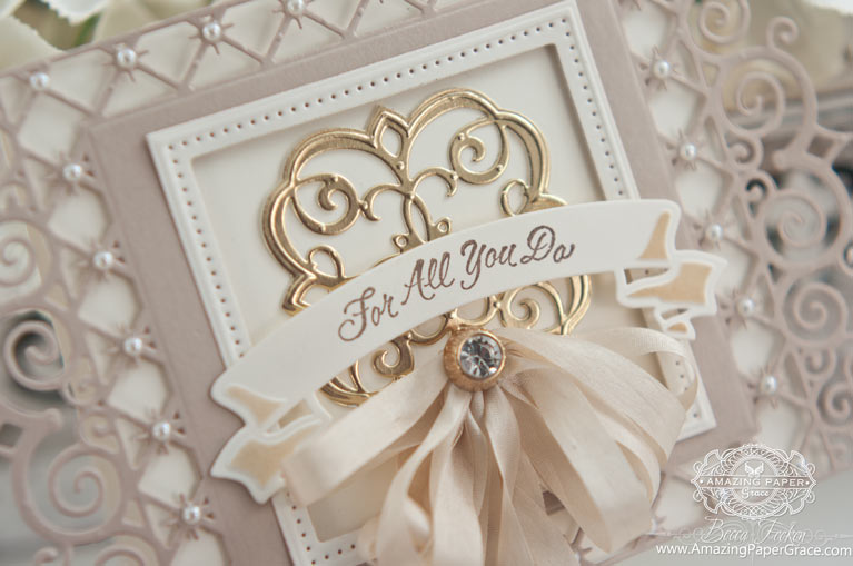 Thank you Card Making Ideas by Becca Feeken using Spellbinders Labels 47 Decorative Elements and Spellbinders Mary Border Strip (close up)
