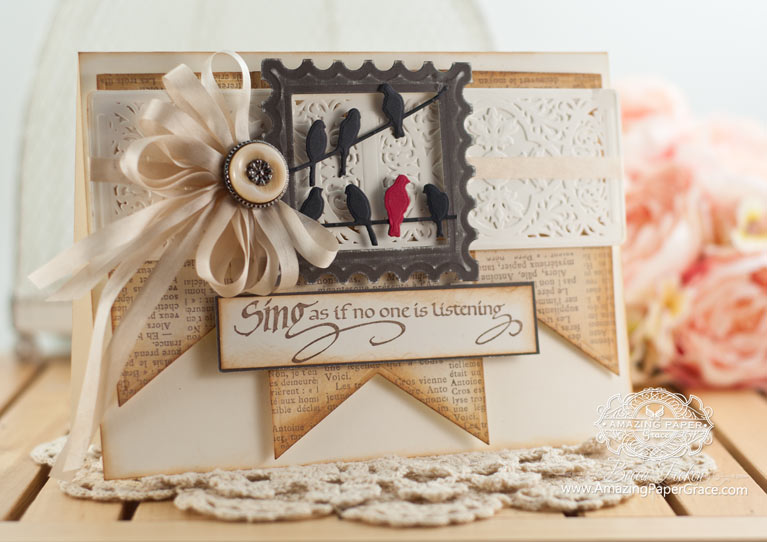 Card Making Ideas by Becca Feeken using Quietfire Design - Sing As If No One Is Listening and Spellbinders Vintage Brocade - www.amazingpapergrace.com