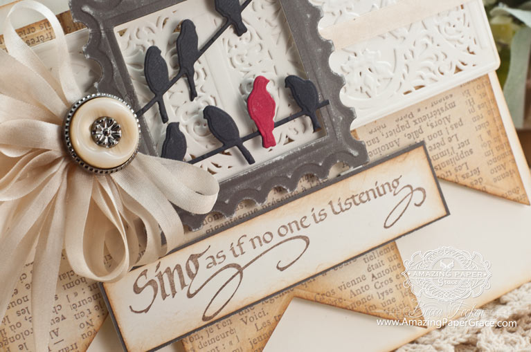 Card Making Ideas by Becca Feeken using Quietfire Design - Sing As If No One Is Listening and Spellbinders Vintage Brocade (close-up) - www.amazingpapergrace.com