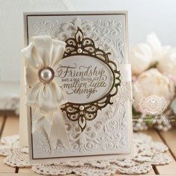 Friendship Card Making Ideas by Becca Feeken using Quietfire Design - Friendship Isn't A Big Thing and Spellbinders Majestic Oval - www.amazingpapergrace.com