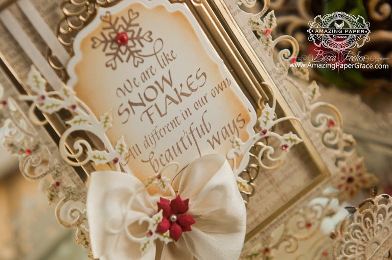 Christmas Card making ideas by Becca Feeken using Quietfire Design We Are Like Snowflakes and Spellbinders 5 x 7 Holly Frame - www.amazingpapergrace.com