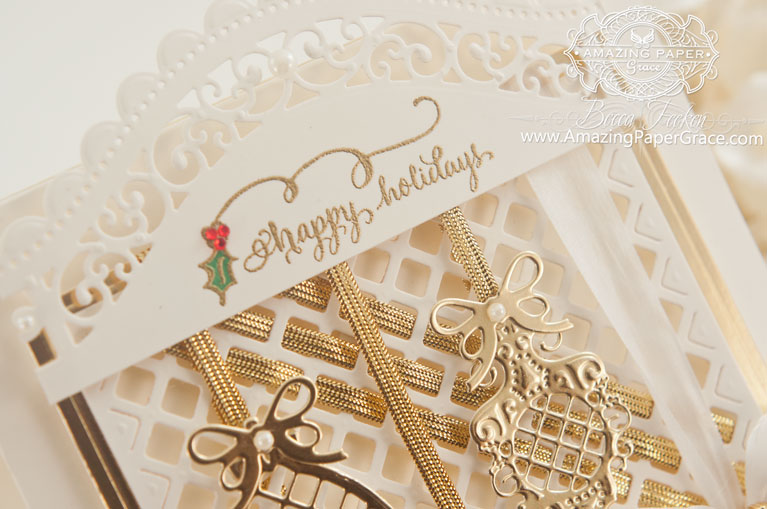 Christmas Card Making Ideas by Becca Feeken using Spellbinders Lattice Ornaments and Quietfire Design - Tiny Christmas Wishes (close up) - www.amazingpapergrace.com