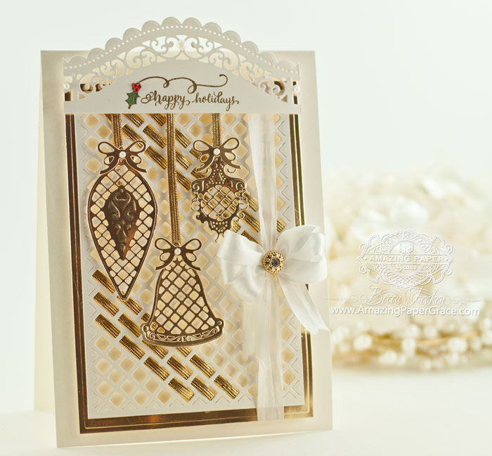 Christmas Card Making Ideas by Becca Feeken using Spellbinders Lattice Ornaments and Quietfire Design - Tiny Christmas Wishes - www.amazingpapergrace.com