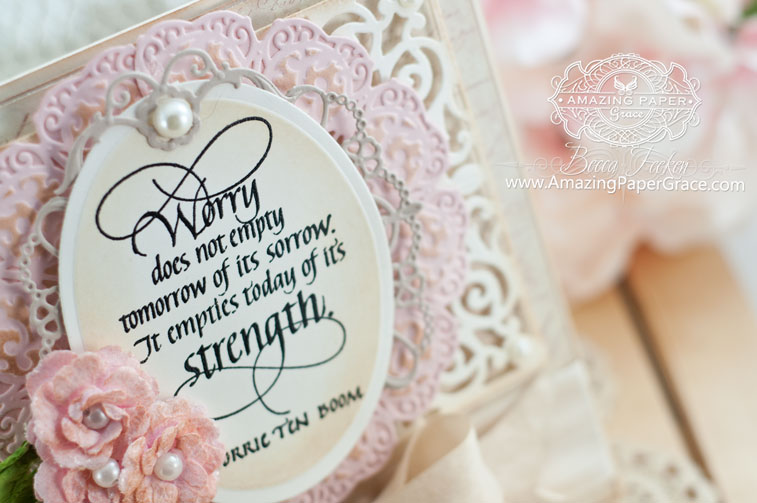 Encouragement Card Making Ideas by Becca Feeken using Spellbinders Victorian Fan and Quietfire Design - Worry - www.amazingpapergrace.com