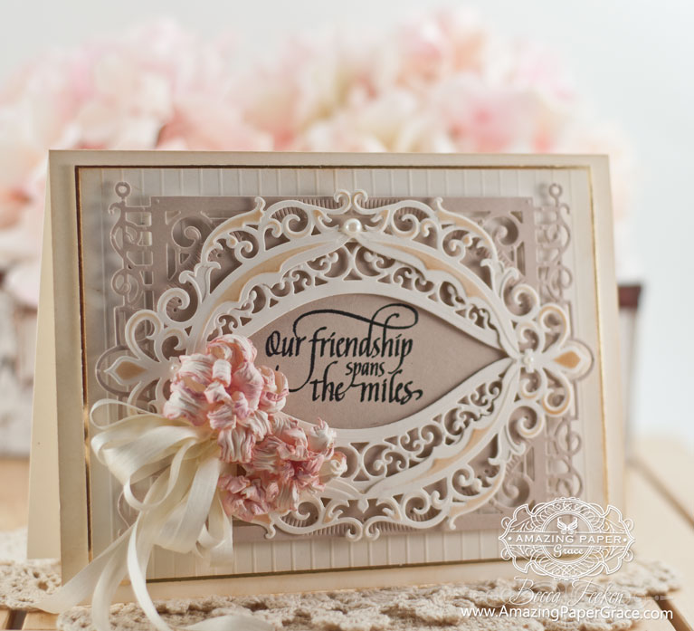 Friendship Card Making Ideas by Becca Feeken using Spellbinders Fleur de Elegance and Quietfire Design - In a Perfect World - www.amazingpapergrace.com