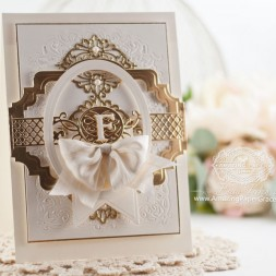 Monogram Card Making ideas by Becca Feeken using Spellbinders Floral Affair, Spellbinders Romantic Agenda, Spellbinders Elizabeth Border Strip, Spellbinders Classic Ovals LG, Spellbinders Belly Band One, Spellbinders Font One - Uppercase, Spellbinders Baby Buntings