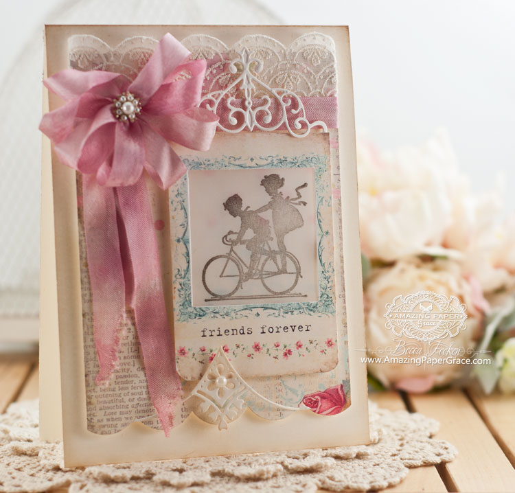 Friendship Card Making Ideas Part - 40: Friendship Card Making Ideas By Becca Feeken Using Spellbinders Imperial  Square And Spellbinders Victorian Bow Corner