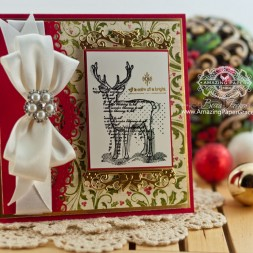 Christmas Card Making Ideas by Becca Feeken using Spellbinders Holly Tags Two, Spellbinders A2 Scalloped Borders One and Unity All is Calm All is Bright - www.amazingpapergrace.com