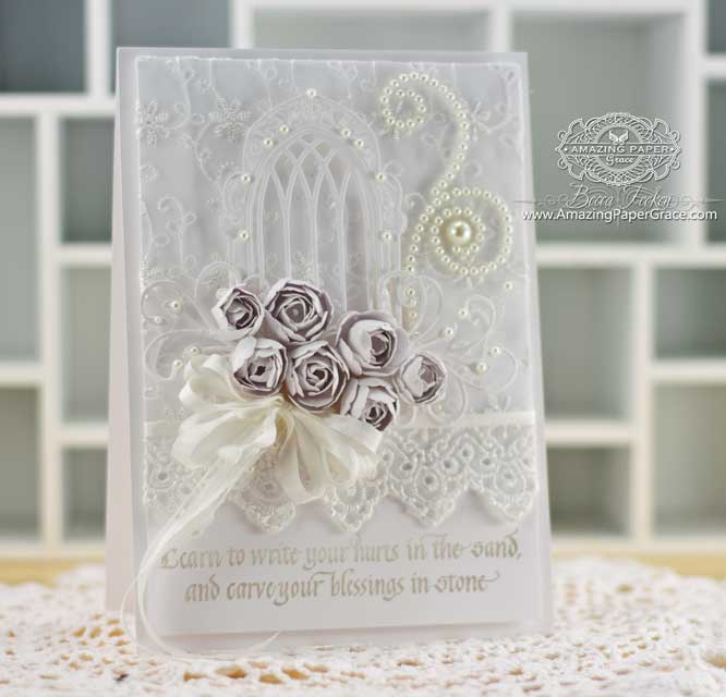 Card Making Ideas by Becca Feeken using Quietfire Design - Write Your Hurts In the Sand and Spellbinders Rose Creations - www.amazingpapergrace.com