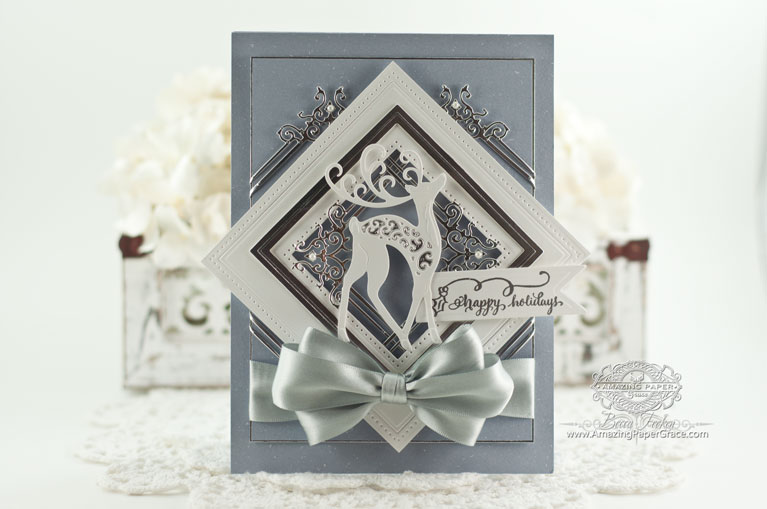 Christmas Card Making Ideas by Becca Feeken using Quietfire Design Tiny Christmas Wishes and Spellbinders Blooming Collection, Spellbinders Triple Floral - www.amazingpapergrace.com