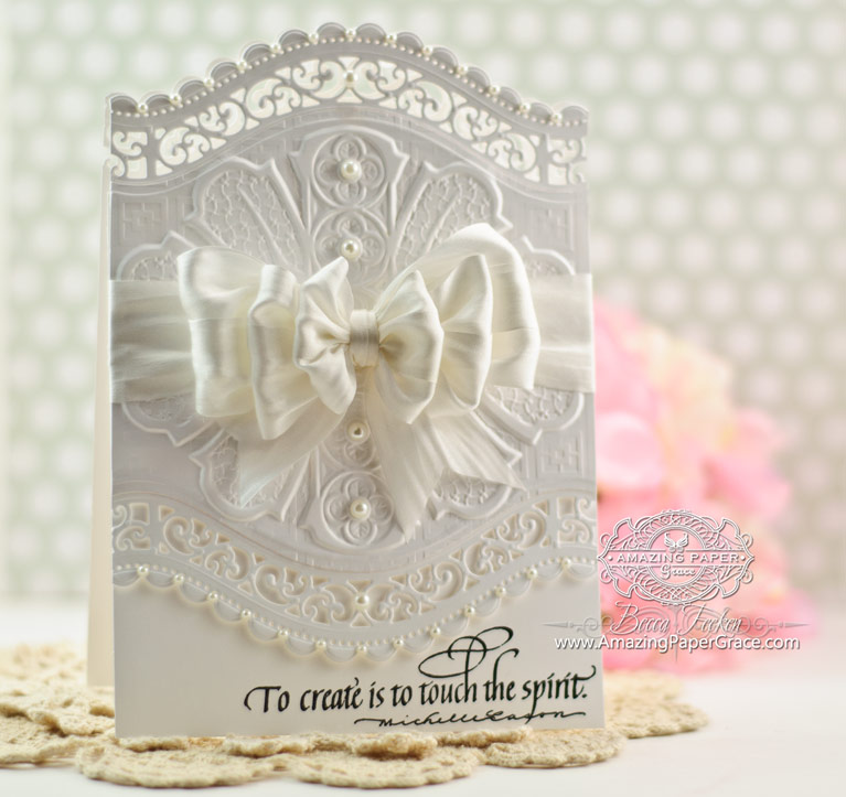 Card Making Ideas by Becca Feeken using Spellbinders Roman Romance M-Bossabilities, Spellbinders A2 Curved Borders Two - www.amazingpapergrace.com