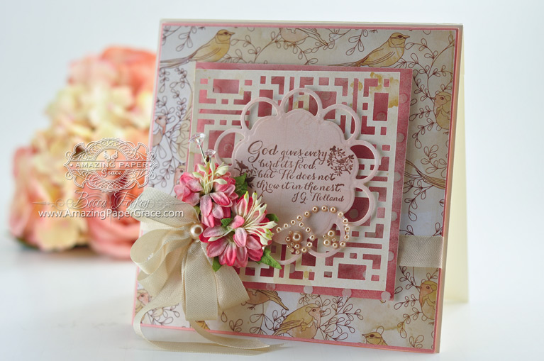 Card Making Ideas by Becca Feeken using EKSuccess Border Punches for Background - www.amazingpapergrace.com