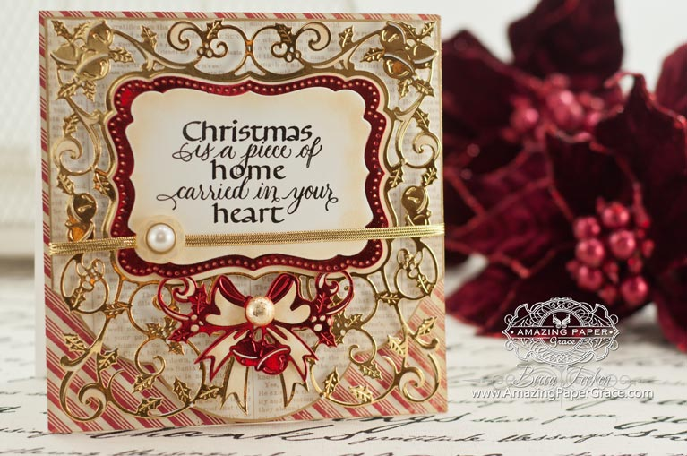 Christmas Card Making Ideas by Becca Feeken using Spellbinders 6 x 6 Holly Frame and Quietfire Design Christmas Is A Piece of Home - www.amazingpapergrace.com