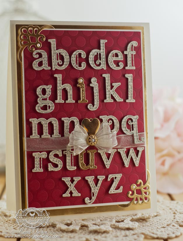 Romantic Card Making Ideas by Becca Feeken using Spellbinders Victorian Letters and Spellbinders Moroccan Accents - www.amazingpapergrace.com