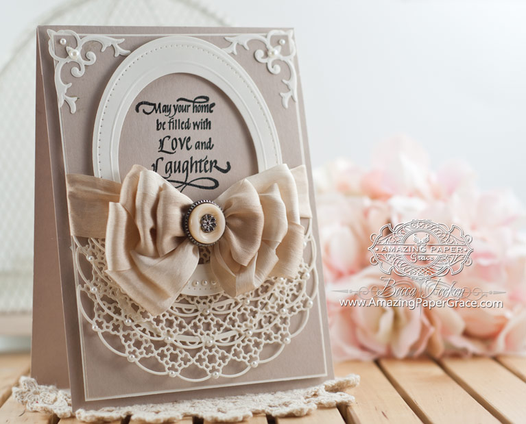 Card Making Ideas by Becca Feeken using Quietfire Design Home Congrats Set and Spellbinders Oval Regalia and Pierced Ovals - www.amazingpapergrace.com