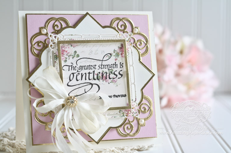 Card Making Ideas by Becca Feeken using Quietfire Design - The Greatest Strength is Gentleness, Spellbinders Contour Steel Rule Die - Giving Makes You Happy, Spellbinders Mary Strip Border, Spellbinders Labels Forty Nine, Spellbinders Marvelous Squares, Spellbinders Classic Squares LG, Spellbinders Classic Squares SM - www.amazingpapergrace.com