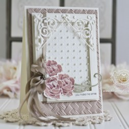 Card Making Ideas by Becca Feeken using Penny Black Petal Power, Penny Black - Snippets, Spellbinders Basket Weave 3D Embossing Folder, Spellbinders Framed Canvas, Spellbinders 5 x 7 Matting Basics A, Spellbinders Imperial Square - www.amazingpapergrace.com