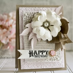 Birthday Card Making Ideas by Becca Feeken using Penny Black - Sentimental Stamp Set and Diecutting with Spellbinders Petal Pusher, Spellbinders Labels 34 Medallion Embossing Folder and Spellbinders A2 Tranquil Moments - www.amazingpapergrace.com