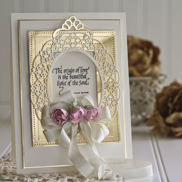 Card Making Ideas by Becca Feeken using Quietfire Design - The Origin of Love and Spellbinders Pierced Rectangles, Spellbinders Oval Regalia, Spellbinders Cinch and Go Flowers - www.amazingpapergrace.com
