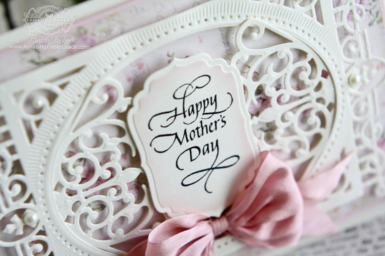 Mothers Day Card Making Ideas by Becca Feeken using Quietfire Design and Spellbinders Heirloom Legacy, Spellbinders Corner Flourish Two, Spellbinders Labels Four - www.amazingpapergrace.com