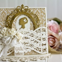 Friendship Card Making Ideas by Becca Feeken using Spellbinders A2 Curved Borders Two, Spellbinders Fleur de Elegance, Spellbinders Classic Ovals LG , Spellbinders Silhouette, Spellbinders Cinch and Go Flowers and Spellbinders Flourished Frame - www.amazingpapergrace.com