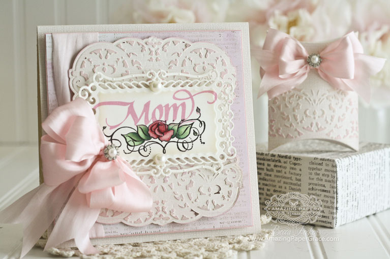 Mothers Day Card Making Ideas by Becca Feeken using Quietfire Design (Keep Calm and Call Mom) and Spellbinders Belgian Lace, Spellbinders A2 Valiant Honor, Spellbinders Pillow Box - www.amazingpapergrace.com