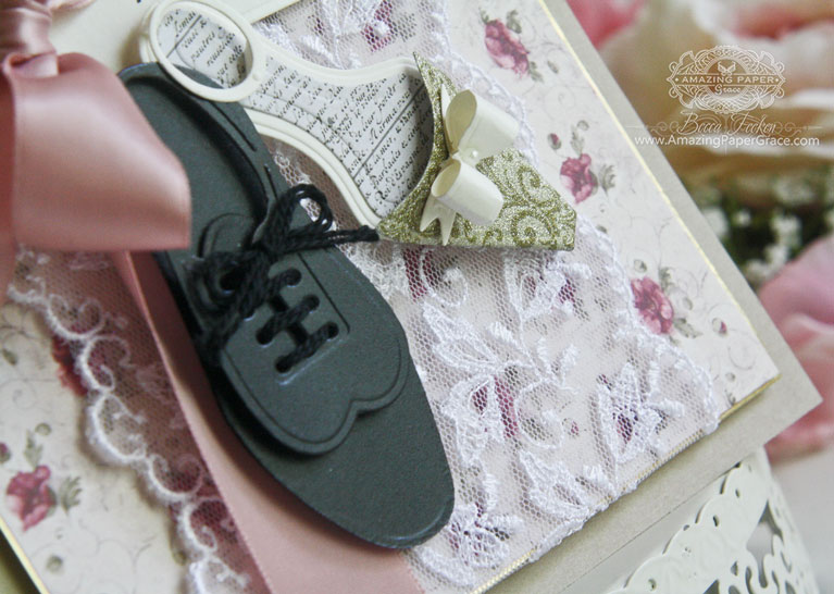 Anniversary, Engagement, Wedding Card Making Ideas by Becca Feeken using S4-609 Spellbinders Gents Shoe, Lace S4-601 Spellbinders Ladies Shoe, S5-258 Spellbinders Swallowtail Tags - www.amazingpapergrace.com