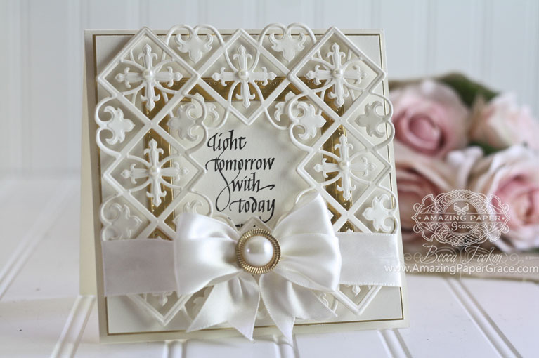 Card Makiing Ideas by Becca Feeken using Quietfire Design (Light Tomorrow with Today) and Spellbinders Pierced Squares, Spellbinders Gothic Border - www.amazingpapergrace.com