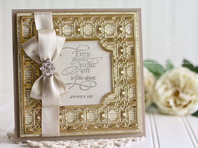 Card Making Ideas by Becca Feeken using Quietfire Design - Every Good and Perfect Gift and Spellbinders Labels Thirty Five, Spellbinders Deco Lux - www.amazingpapergrace.com