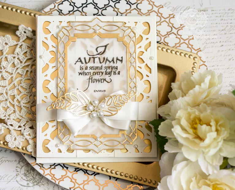 Card Making Ideas by Becca Feeken using Quietfire Design - Autumn is a Second Spring and Spellbinders Renaissance Border One, Astoria Decorative Elements, Spellbinders Astoria Label, Spellbinders Loopy Roll Flowers - full supply and instructions at www.amazingpapergrace.com