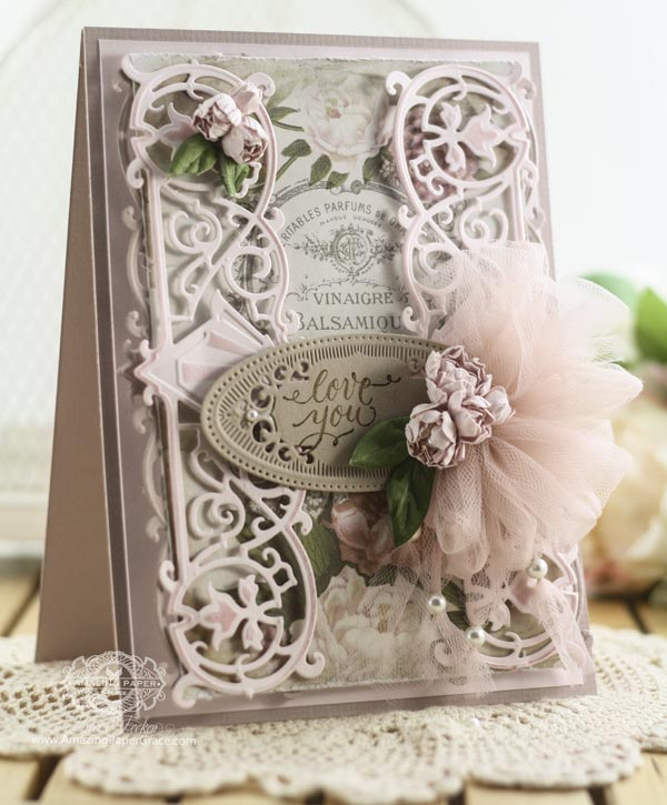 Card Making Ideas by Becca Feeken using Quietfire Design - Just for You Set with Spellbinders Deco Duality , Spellbinders Radiant Rectangles, Spellbinders Cinch and Go Flowers - see full supplies and instructions at www.amazingpapergrace.com