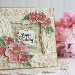 Card Making Ideas by Becca Feeken using Spellbinders Decorative Applause 3D Embossing Folder, Spellbinders Labels 42, Spellbinders Labels 42 Decorative Elements, Spellbinders Classic Scallops - see full supply list with ink colors at www.amazingpapergrace.com