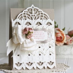 Card Making Ideas by Becca Feeken using Spellbinders Arched Diamond, Spellbinders Cascading Grace Pocket, Spellbinders 5 x 7 Elegant Labels Four - Full Supply List at www.amazingpapergrace.com