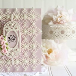 Baby Card Making Ideas by Becca Feeken using Spellbinders Radiant Rectangles, Spellbinders Renaissance Border Two, Spellbinders Renaissance Tags One - Full supply list at www.amazingpapergrace.com
