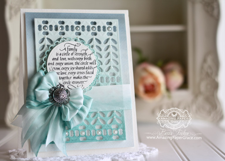 Card making ideas by Becca Feeken using Quietfire Design – A Family Is A Cirle of Strength, Spellbinders French Harmony, Spellbinders Standard Circles Small, Spellbinders Stately Circles - fully supply list at www.amazingpapergrace.com