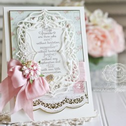 Card making ideas by Becca Feeken using Spellbinders Elegant Labels Four and Spellbinders Curved Borders Two - full supply list at www.amazingpapergrace.com