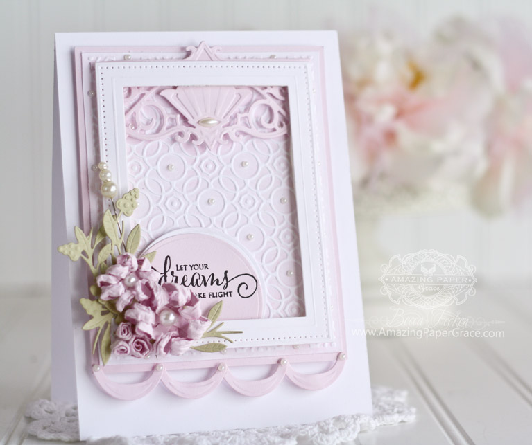 Card making ideas by Becca Feeken using Spellbinders Overlapping Circles. Spellbinders Pierced Rectangles, Spellbinders Deco Duality, Spellbinders Standard Circles Small, Spellbinders Stack and Fan Flowers, Spellbinders Floral Berry Accents - fully supply list at www.amazingpapergrace.com