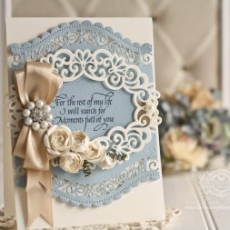 Card Making Ideas by Becca Feeken using Quietfire Design - For the Rest of My Life, Spellbinders A2 Curved Borders Two, Spellbinders Heirloom Oval, Spellbinders Cinch and Go Flowers - see full supply list at www.amazingpapergrace.com