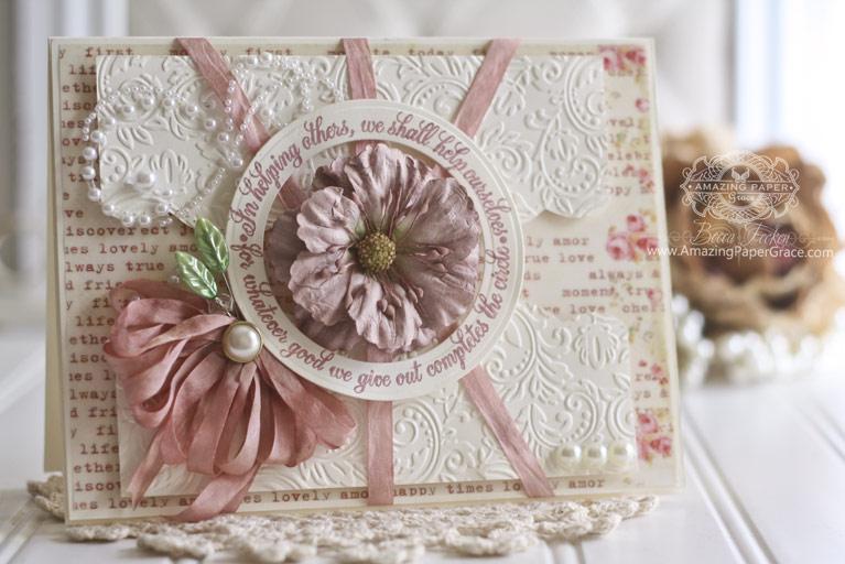 Card Making Ideas by Becca Feeken using Spellbinders Standard Circles LG, Spellbinders Floral Embossing Folder, Spellbinders A2 Bracket Borders One - full supply list at www.amazingpapergrace.com