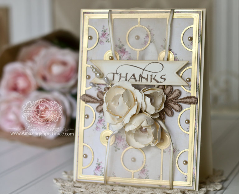 Thank You Card Making Ideas by Becca Feeken using Quietfire Design - Thanks Cuddlers Set, Spellbinders Vertical Chain, Spellbinders Contour Layered Blooms, Spellbinders Decorative Swallowtail Tags - full supply list at www.amazingpapergrace.com