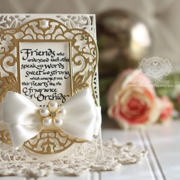 Friendship Card Making Ideas by Becca Feeken using Spellbinders Labels 54 Decorative Elements and Spellbinders A2 Divine Eloquence - see full supply list at www.amazingpapergrace.com