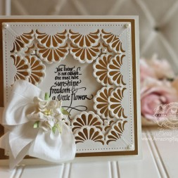 Card Making Ideas by Becca Feeken using Quietfire Design - Just Living Is Not Enough and Spellbinders Graceful Fans and Graceful 6 x 6 Frame Maker - for full supply list see www.amazingpapergrace.com