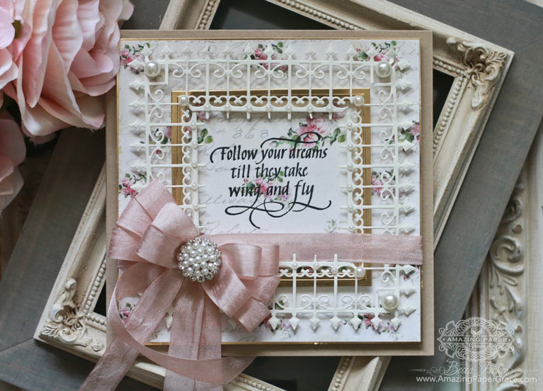 Card Making Ideas by Becca Feeken using Spellbinders Graceful Frame Maker and Spellbinders Wrought Iron Die along with Quietfire Design - Follow Your Dreams - see full supply list at www.amazingpapergrace.com