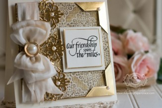 Friendship card making ideas by Becca Feeken using Spellbinders Graceful Damask, Spellbinders Graceful Frame Maker and Quietfire Design - In A Perfect World Stamp Set - full supply list at www.amazingpapergrace.com