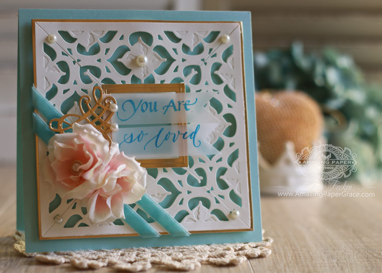 Card Making Ideas by Becca Feeken using Quietfire Design - You Are, Spellbinders Graceful Frame Maker, Spellbinders Renaissance Border One, Spellbinders 6 x 6 Matting Basics A, Spellbinders Decorative Swallowtail Tags - see fully supply list at www.amazingpapergrace.com