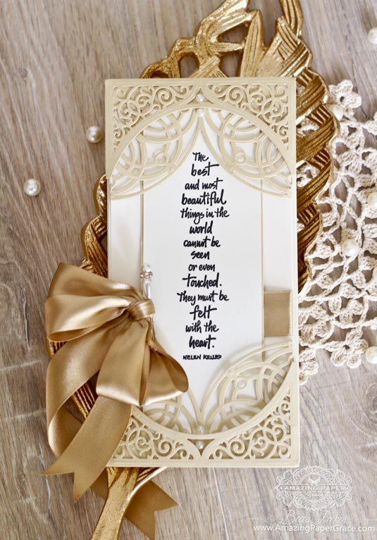 Double Pocket Card Making Ideas by Becca Feeken using Spellbinders Swirl Bliss Pocket Die and Spellbinders Arched Elegance Pocket Die - full supply list at www.amazingpapergrace.com