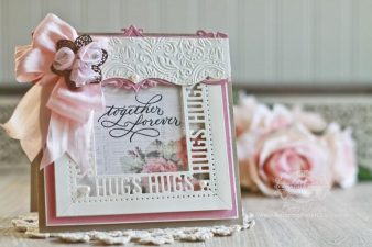 Card Making Ideas by Becca Feeken using Quietfire Design - Together Forever and Spellbinders 6x6 Graceful Frame Maker, Spellbinders Sweet Words, Spellbinders Art Deco – Deco Duality, Spellbinders A2 Bracket Border, Spellbinders Floral Embossing Folder - see full supply list at www.amazingpapergrace.com