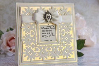 Card Making Ideas by Becca Feeken using Quietfire Design - Follow Your Dreams, Spellbinders Graceful Floral Lace, Spellbinders Graceful Frame Maker - see full supply list at www.amazingpapergrace.com/?p=31595